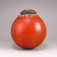 Vintage 19TH C Chinese Natural Gourd Cricket Container Jar Inlay Turquoise w Dai Mao Lid