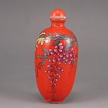 Hand-painted Chinese Red Ground Famille Rose Porcelain Snuff Bottle