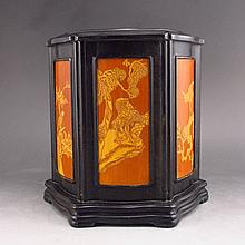 Hand Carved Chinese Natural Black Sanders Wood Inlay Bamboo 6-sided Brush Pot