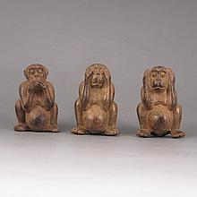 A Set Hand-carved Chinese Natural Aloewood Statue - Three Monkeys