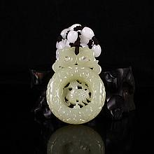 Beautiful Hollow-out Carved Chinese Natural Hetian Jade Pendant w Lucky Design