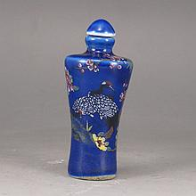 Hand-painted Chinese Blue Ground Famille Rose Porcelain Snuff Bottle w Magpie & Plum Flower