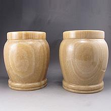 Huge Two Hand Carved Chinese Natural Jade Tea Pot / Jar
