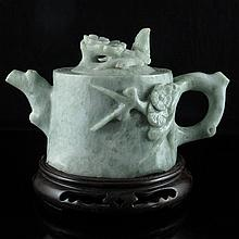Hand Carved Chinese Natural Dushan Jade Teapot w Plum Flower