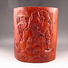 Big Hand Carved Chinese Natural Huang Hua Li Wood Brush Pot w Sages Pine Tree & House