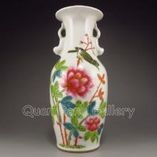 Hand Drew Chinese Famille Rose Porcelain Double Ears Vase