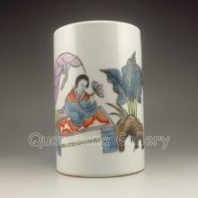 Hand-draw Chinese Wu Cai Porcelain Brush Pot