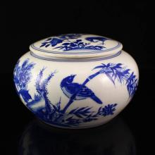 Hand-painted Chinese Blue And White Porcelain Tea Caddy