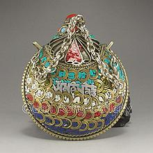 Handmade Chinese Bronze Inlay Turquoise & Lapis Lazuli Snuff Bottle