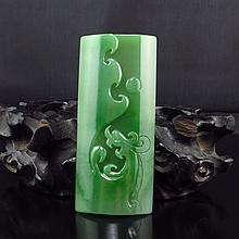 Superb Hand-carved Chinese Natural Green Hetian Jade Pendant w Dragon