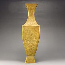 Chinese Handmade Gold-Plated Brass Bass-relief Square Vase