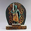 Vintage Chinese Turquoise Fire Deity Statue