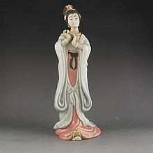 Hand-carved Chinese Porcelain Statue - Beautiful Girl