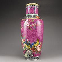 Hand-painted Chinese Gold-plating Fahua Famille Rose Porcelain Vase w Yong Zheng Mark & Magpie
