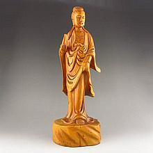 Hand-carved Chinese Natural Boxwood Hard Wood Statue - Jing Ping Kwan-yin