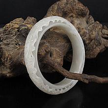 Beautiful Chinese Hollow Out Carved Double Layer Natural Hetian Jade Bracelet