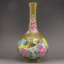 Hand-painted Chinese Famille Rose Porcelain Vase w Flower Bird & Mark