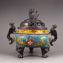 Chinese Bronze Cloisonne Incense Burner w Xuan De Mark
