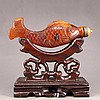 Hand Carved Chinese Ox Horn Snuff Bottle - Fish