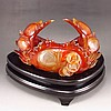 Superb Beautiful Color Hand Carved Chinese Natural Agate Statue - Fortune Crab