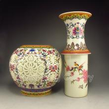 A Set Chinese Famille Rose Porcelain Hollow Out Carved Turn The Heart Vase