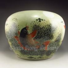Hand-painted Chinese Porcelain Pot w Mark & Goldfish
