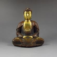 Chinese Genuine Gold-Plated Red Copper Buddha Statue Siddhartha