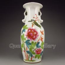 Hand-painted Chinese Double-ear Famille Rose Porcelain Vase w Flower Bird