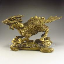 Chinese Brass Carved Kylin Statue