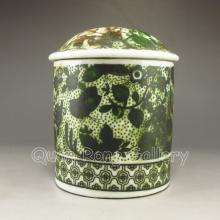 Hand-painted Chinese Su Colors Porcelain Tea Caddy