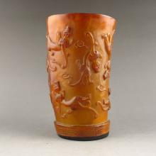 Vintage Chinese Hand-carved Ox Horn Cup - Li Dragon