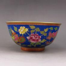 Hand-painted Chinese Gold-plating Colour Enamels Porcelain Bowl w Mark