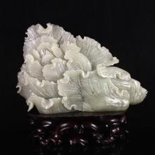 Superb Hand Carved Chinese Natural White Hetian Jade Statue - Fortune Cabbage