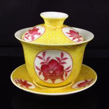 A Set Hand-painted Chinese Yellow Ground Famille Rose Porcelain Cup w Yong Zheng Mark