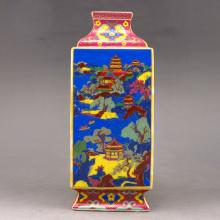 Hand-painted Chinese Colour Enamels Porcelain Square Bottle w Yong Zheng Mark