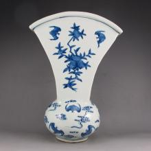 Hand-painted Chinese Blue And White Porcelain Vase w Mark