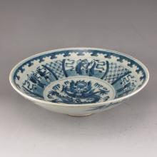 Vintage Hand-painted Chinese Blue And White Porcelain Bowl w Mark