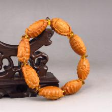 Chinese Natural Olive Pit Carved Kwan-yin Head Bracelet