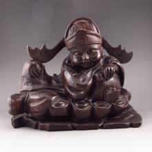 Hand-carved Chinese Natural Black Sandalwood Statue - Fortune Kid