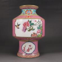 Hand-painted Chinese Gold-plating Famille Rose Porcelain Vase w Flower Bird & Yong Zheng Mark