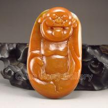 Beautiful Color Chinese Natural Jade Pendant - Laughing Buddha