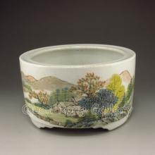 Chinese Hand-painted Sucai Porcelain Brush Washer w Mark