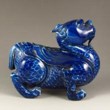 Chinese Blue Glaze Porcelain Statue - Fortune Beast