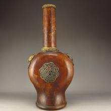 Vintage Chinese Gourd Inlay Brass High Neck Vase w Mark