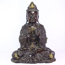 11.5 kg Superb Chinese Gold-plating Red Copper Kwan-yin Statue