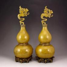 A Pair Chinese Brass Gourd Shape Statue w Marked