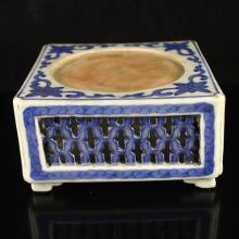 Hollow Out Carved Chinese Blue And White Porcelain Inkstone w Marked