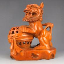 Chinese Natural Boxwood Brush Pot Carved Foo Dog