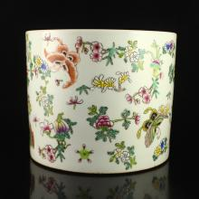 A Fine Hand-painted Chinese Famille Rose Porcelain Brush Pot