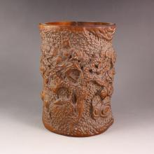 Chinese Natural Boxwood  Brush Pot Carved Pine Tree